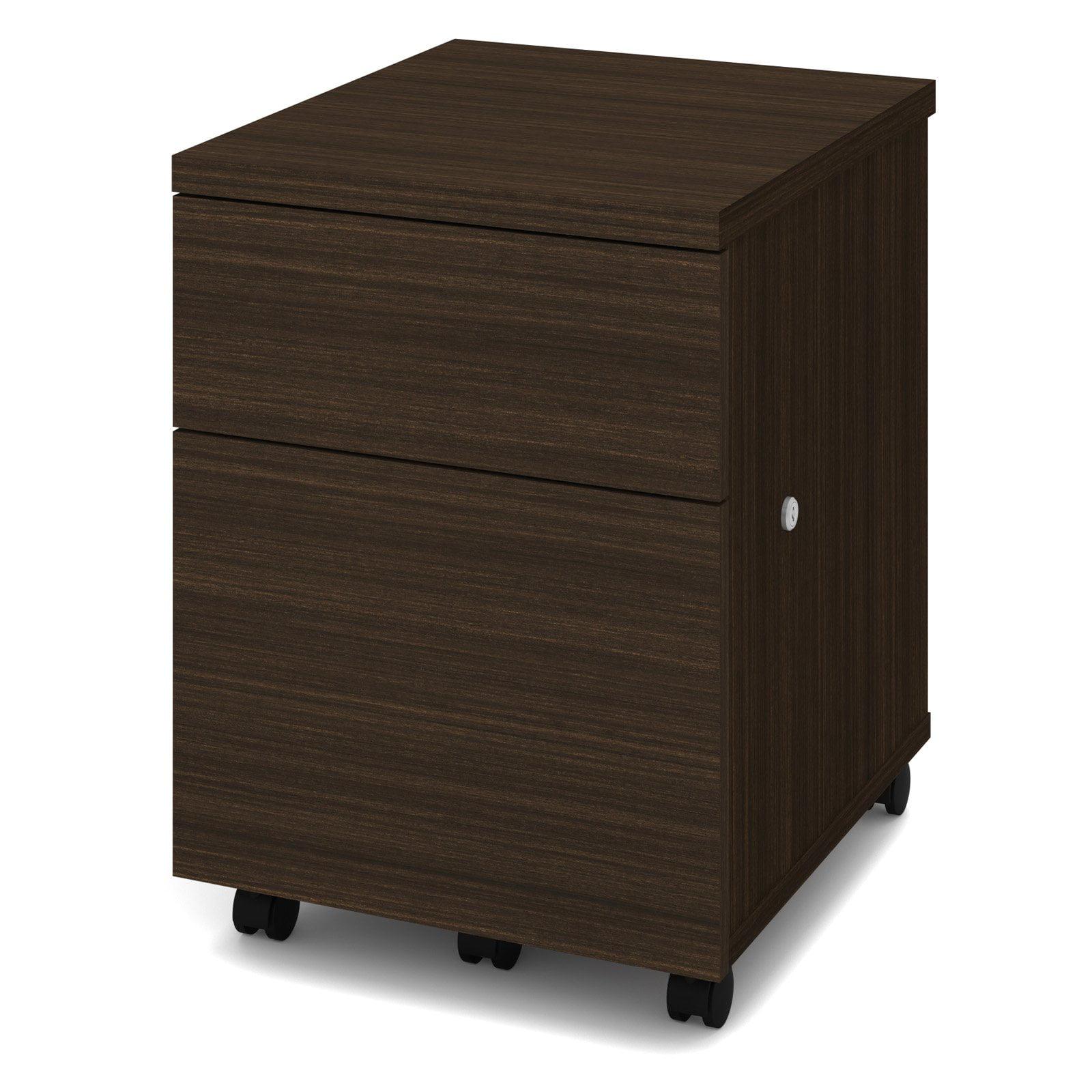 Bestar 2 Drawer Vertical Wood Lockable FileCabinet, Brown