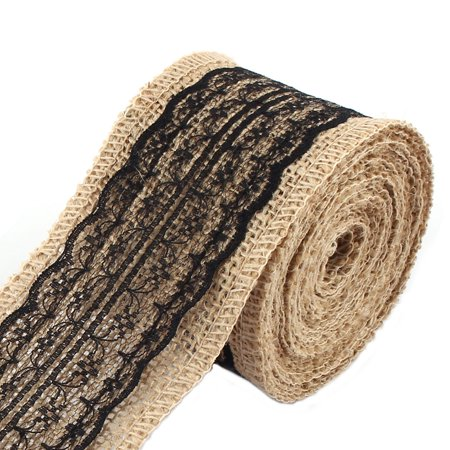 Unique Bargains Christmas Burlap DIY Gift Wrapping Packing Ornament Craft Ribbon Roll Black