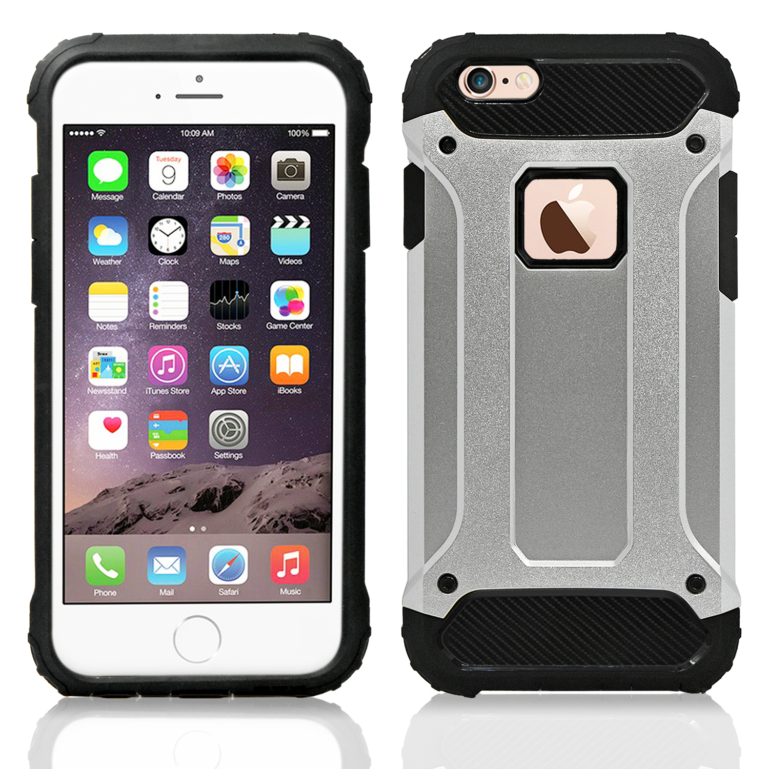 IPhone 6 / 6S Hybrid Shockproof Tough Case Cover Silver