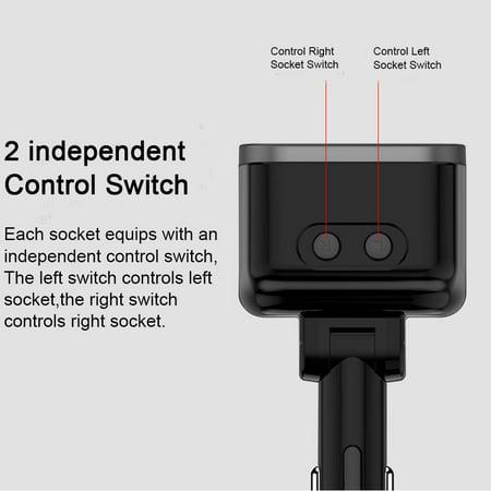 USB C Car Charger, 2 Sockets Cigarette Lighter Splitter for iPhone 11/11 Pro/X/8/7, Samsung, Google Pixel and More, UL Listed - image 5 de 9