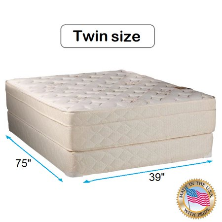 "Dream Solutions USA Beverly Hills Firm Foam Encased Eurotop (Pillow Top) Mattress and Box spring set (Twin 39""x75""x13"") Sleep System with Enhance Support- Fully Assembled, Knit Cover, Orthopedic"