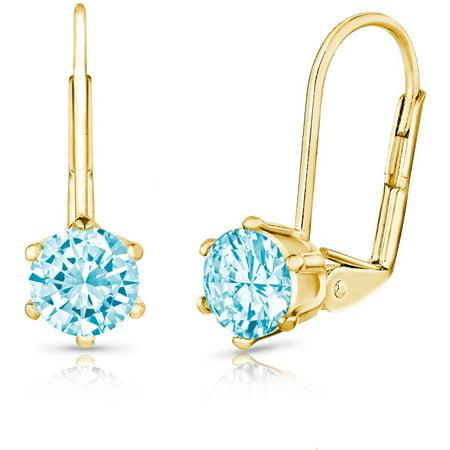 Blue Topaz Leverback Gem Earrings - 2.0 Carat T.G.W. Round Genuine Blue Topaz Gemstone 18kt Yellow Gold-Plated Leverback Earrings