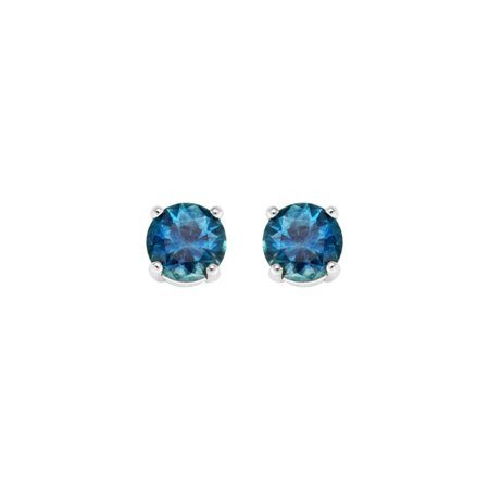 (14K White Gold 4 MM Round Natural Blue Sapphire Gemstone Stud Earrings)