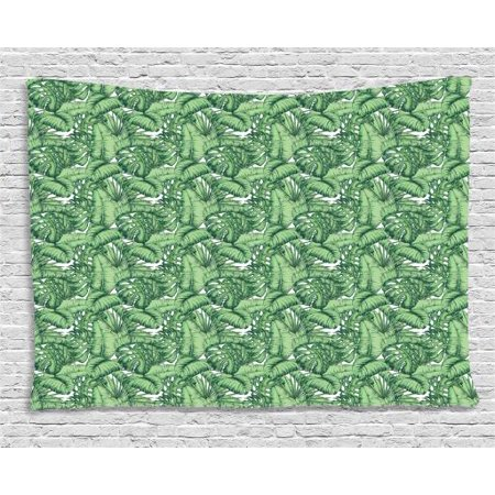 Banana Leaf Tapestry, Hand Drawn Plantain Leaves Divided Into Two Lamina Halves, Wall Hanging for Bedroom Living Room Dorm Decor, 80W X 60L Inches, Hunter Green and Pale Green, by