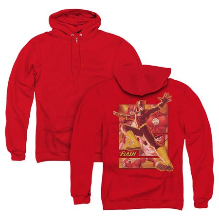 Trevco Sportswear JLA147BK-AZH-1 JLA & Flash Back Print Adult Zipper Hoodie,  Red - Small - image 1 de 1