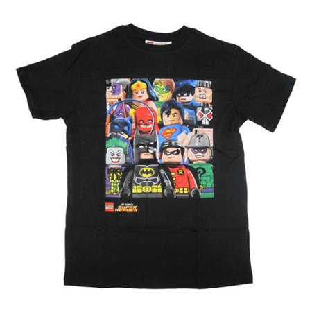 Boys black minifigures superhero print crew neck t shirt Boys superhero t shirts
