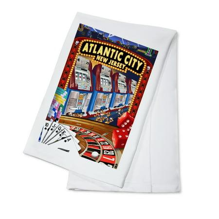Casino Desert Scene (Atlantic City, New Jersey - Casino Scene - Lantern Press Poster (100% Cotton Kitchen)