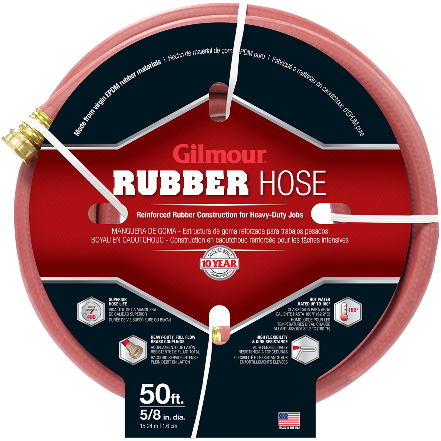 "Gilmour 18058050 50' 5/8"" Commercial Hot Water Rubber Hose"