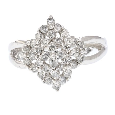 0.75 CT Diamond Cluster Cocktail Ring 10K White Gold Size 7
