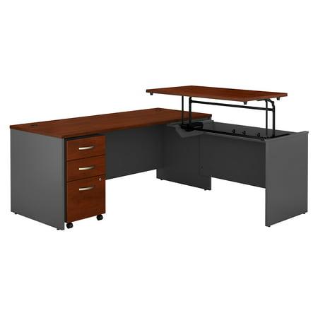 Graphite Gray Series - SRC125HCSU Bush Business Furniture Hansen Cherry / Graphite Gray Series C 72W x 30D 3 Position Sit to Stand L Shaped Desk with Mobile File Cabinet
