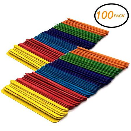 Emraw Jumbo Colored Craft Stick Wood Stick 100 Pieces Long Craft Sticks Wood Handles Wedding Fan Craft Sticks Unfinished Natural Wood Craft Ice Cream Popsicle Sticks for - Diy With Popsicle Sticks