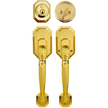 Constructor Cerberus Entry Door Lock Lever Handle Set Polished Brass (Brass Dummy Lock Set)