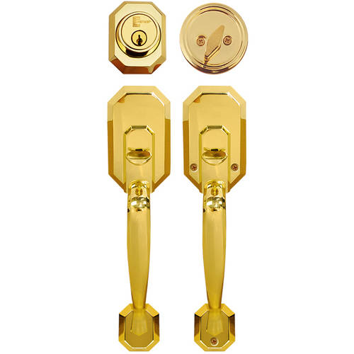 Constructor Cerberus Entry Door Lock Lever Handle Set Polished Brass Finish