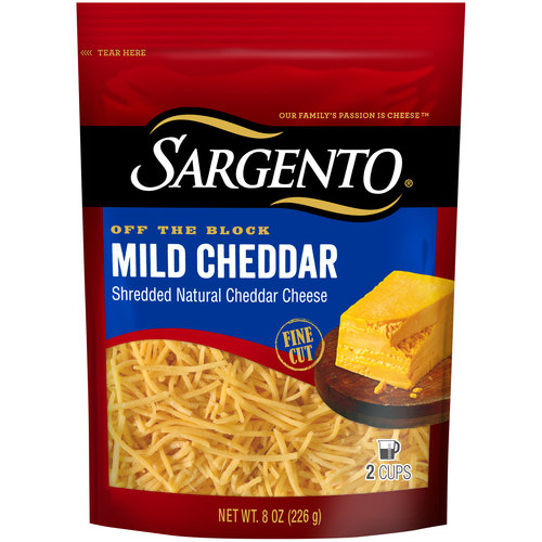 Sargento Off the Block Mild Cheddar Fine Cut Shredded Cheese, 8 oz