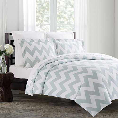 Echelon Home Chevron Duvet Cover Set, Silver Blue, King