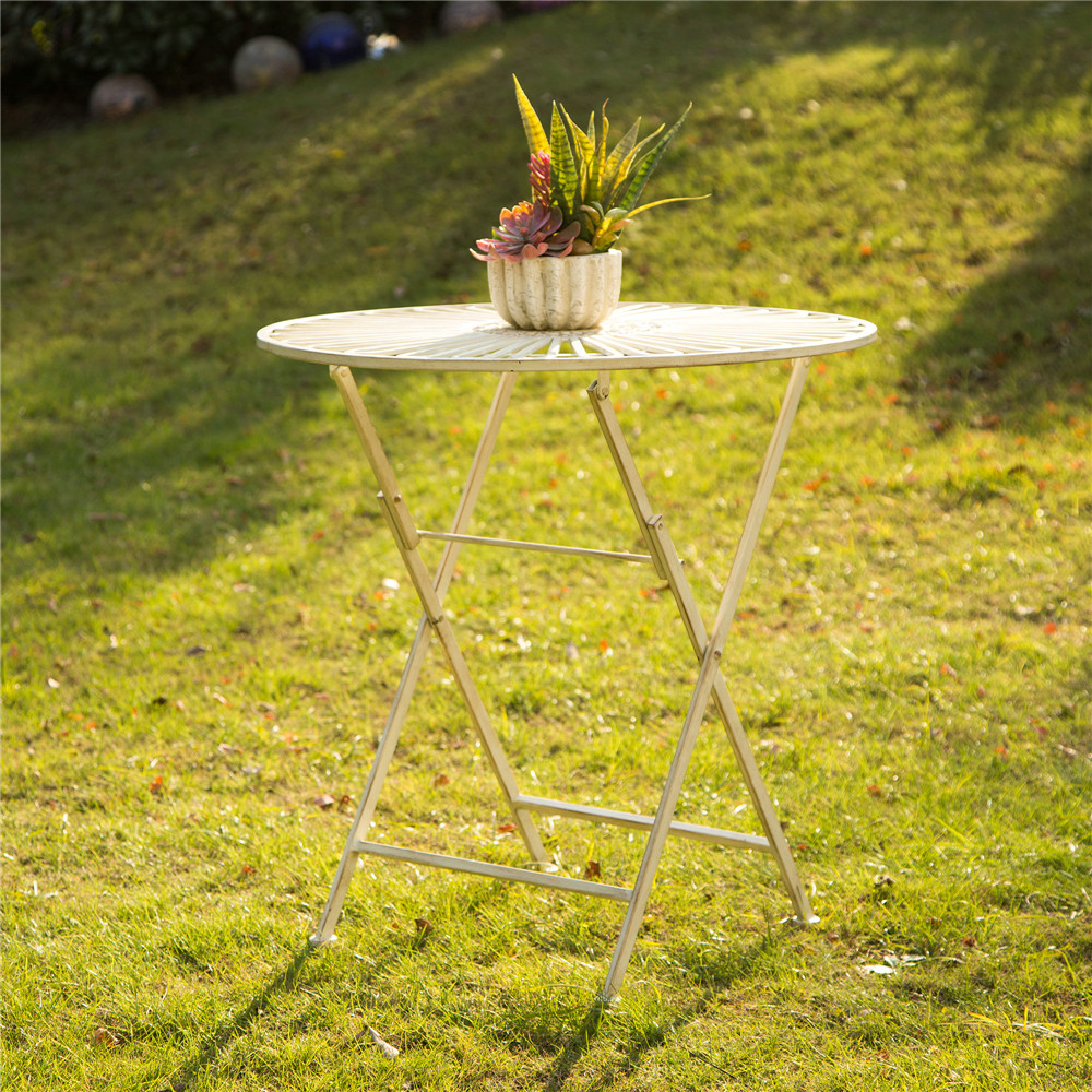 Glitzhome Vintage Outdoor Round Folding Metal Patio Table, Antique White