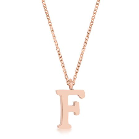 Womens Elaina Rose Gold Stainless Steel F Initial Necklace - image 1 of 1
