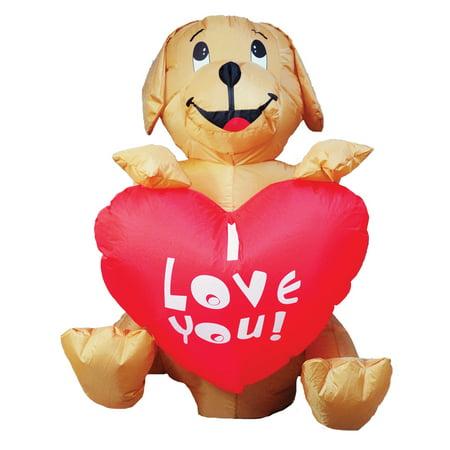 INFLATE DOG W HEART 4FT LED - Halloween Mini Corn Dogs