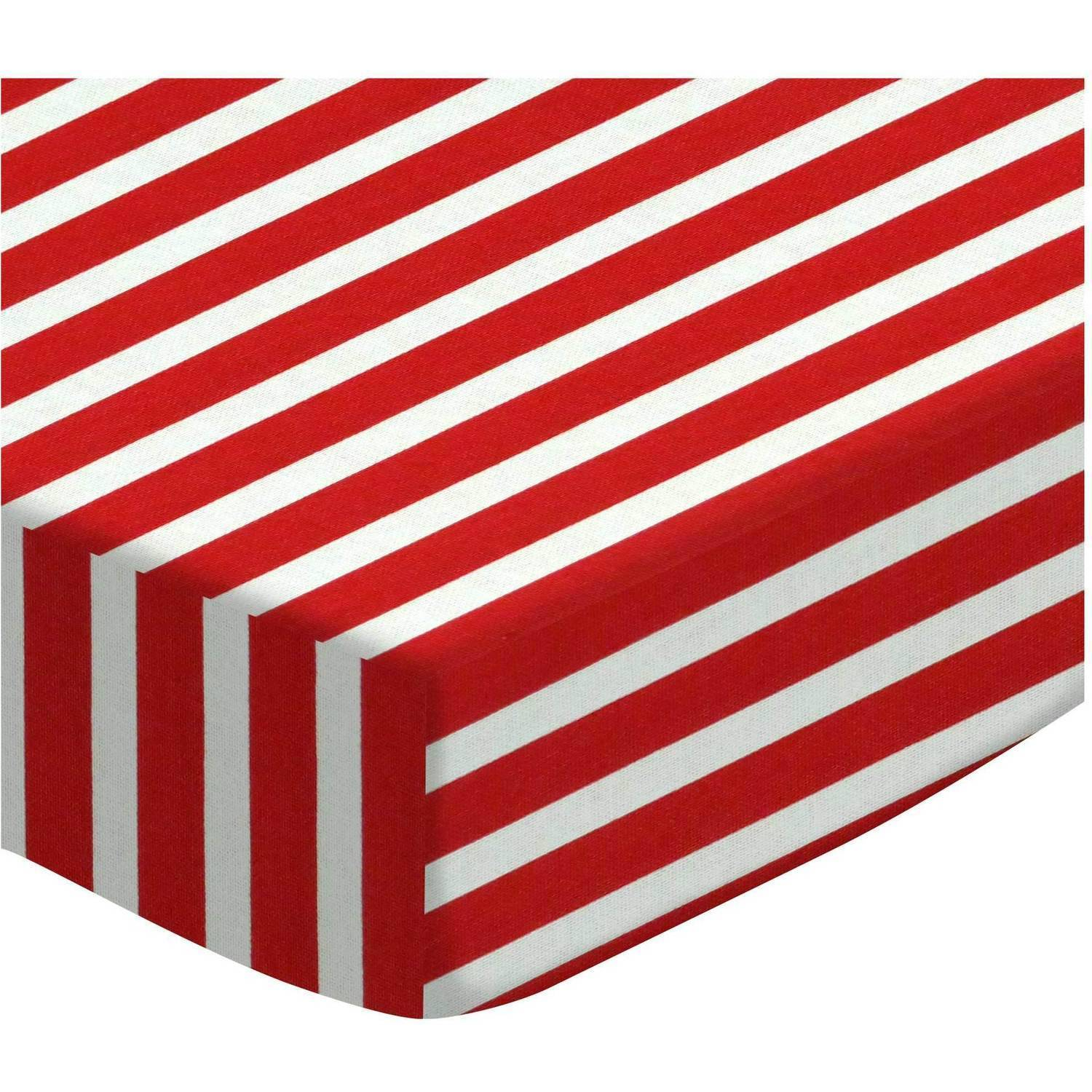 SheetWorld Fitted Portable / Mini Crib Sheet - Primary Red Stripe Woven