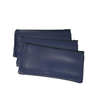 Bank Deposit Bag - 3 Piece Set PM Company Security Bank Deposit Bag / Utility Zipper Coin Bag / Pouch Safe Money Organizer Bag / 11 X 5.5 Inches (FREE RETURN) (BANK BAG-PACK OF 3 - NAVY)