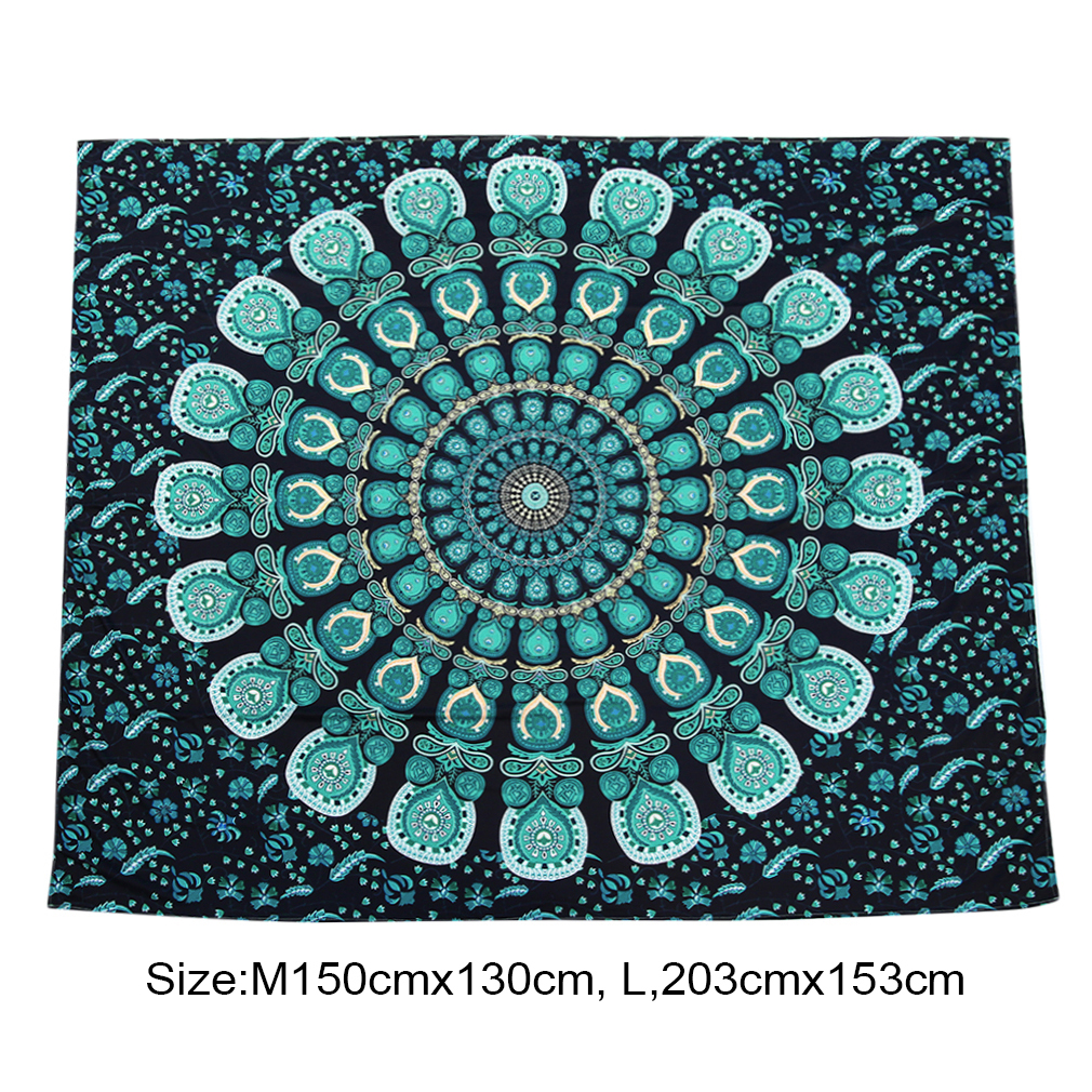Green Peacock Size M Rectangle Elephant Tapestry Colored Printed Decorative Mandala Tapestry Indian 130cmx150cm... by