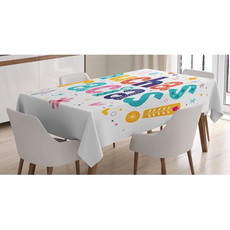 Mexican Decor Tablecloth, Spanish Thank You Quote with Cartoon Style Hearts Diamonds Flowers Artwork, Rectangular Table Cover for Dining Room Kitchen, 52 X 70 Inches, Multicolor, by Ambesonne for $<!---->