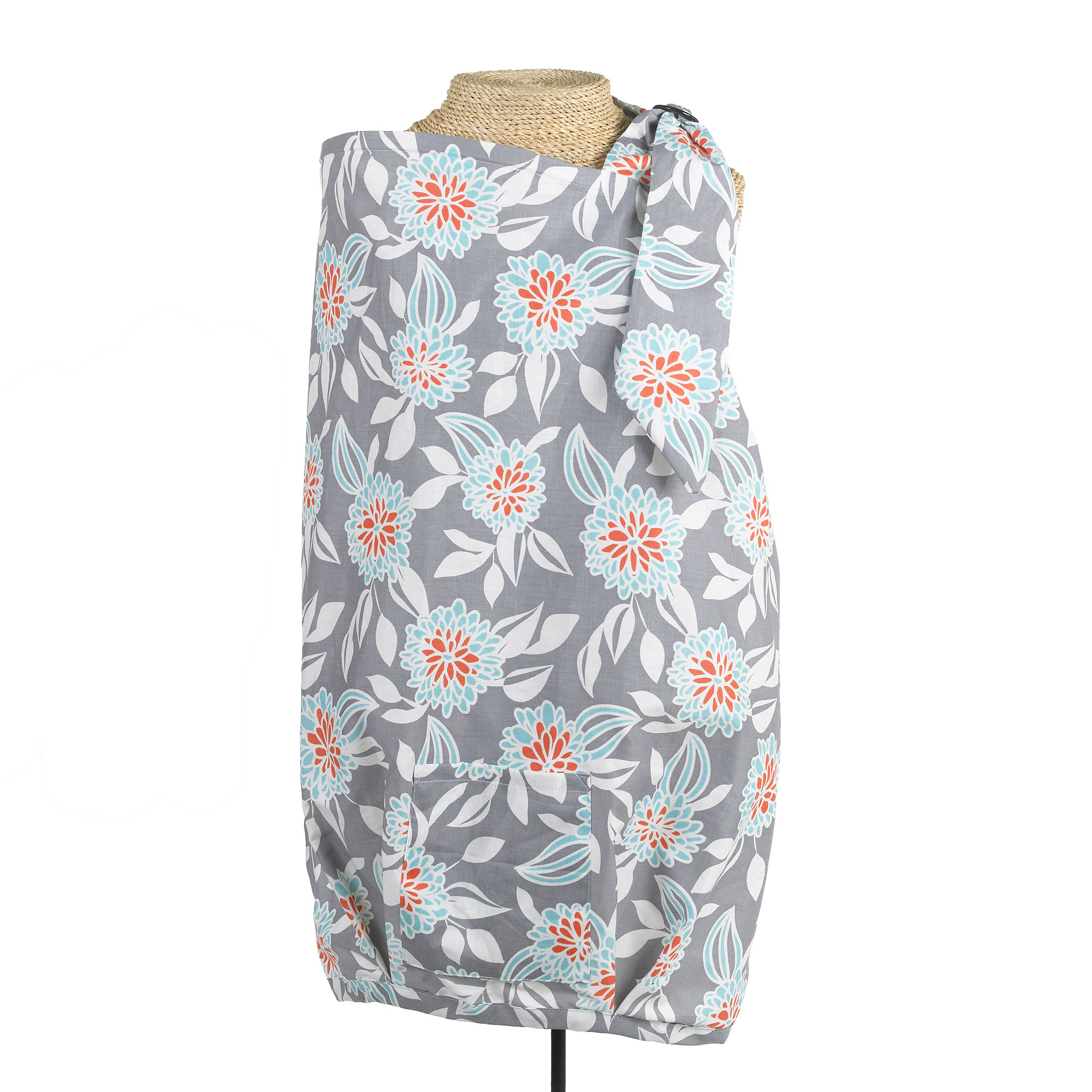 Balboa Baby Nursing Cover 100% Cotton - Grey Dahlia Floral Contoured Design - Dr. Sears Recommended