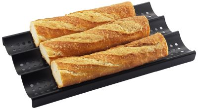 3-Loaf Nonstick Perforated Baguette French Bread Pan by