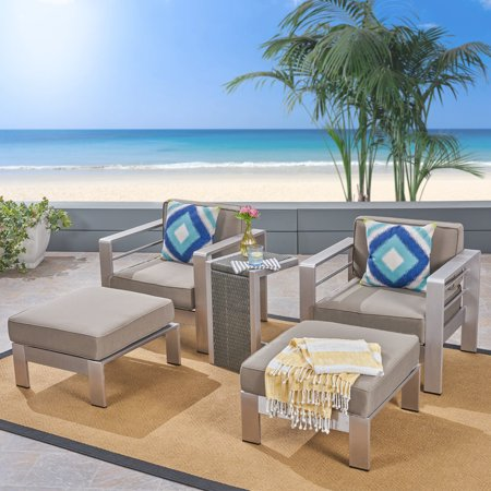 Fine Emily Coral Outdoor Aluminum 2 Seater Club Chair Chat Set With Side Table And Ottoman Silver With Khaki And Gray Cjindustries Chair Design For Home Cjindustriesco