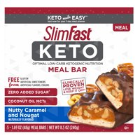 SlimFast Keto Meal Replacement Bar Nutty Caramel & Nougat, 1.48 oz, Pack of 5