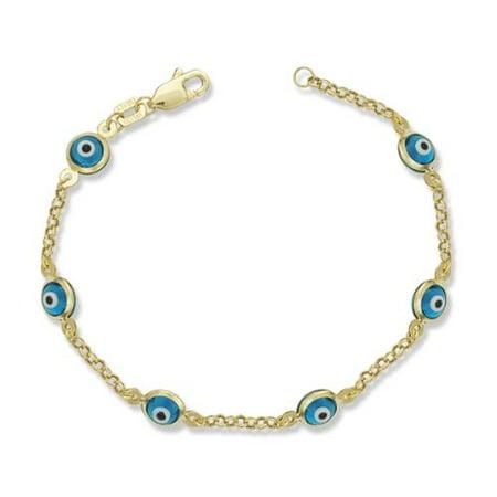 Jewelryweb Com Childrens 14K Yellow Gold Enamel Evil Eye 5 Inch Charm Bracelet