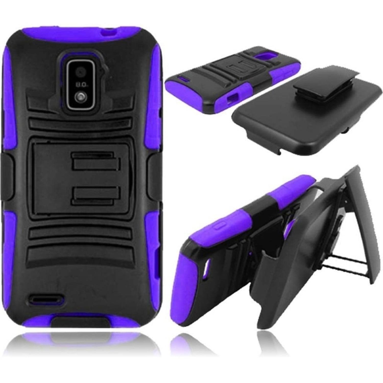 Insten For ZTE Warp LTE N9510 Side Stand Case With Holster Black /Purple