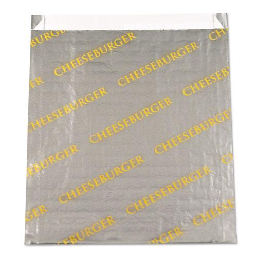 "Bagcraft Foil/Paper/Honeycomb Insulated Bag ""Cheeseburger"" 6x6 1/2 Gray/Yellow 1000/CT - BGC300524"