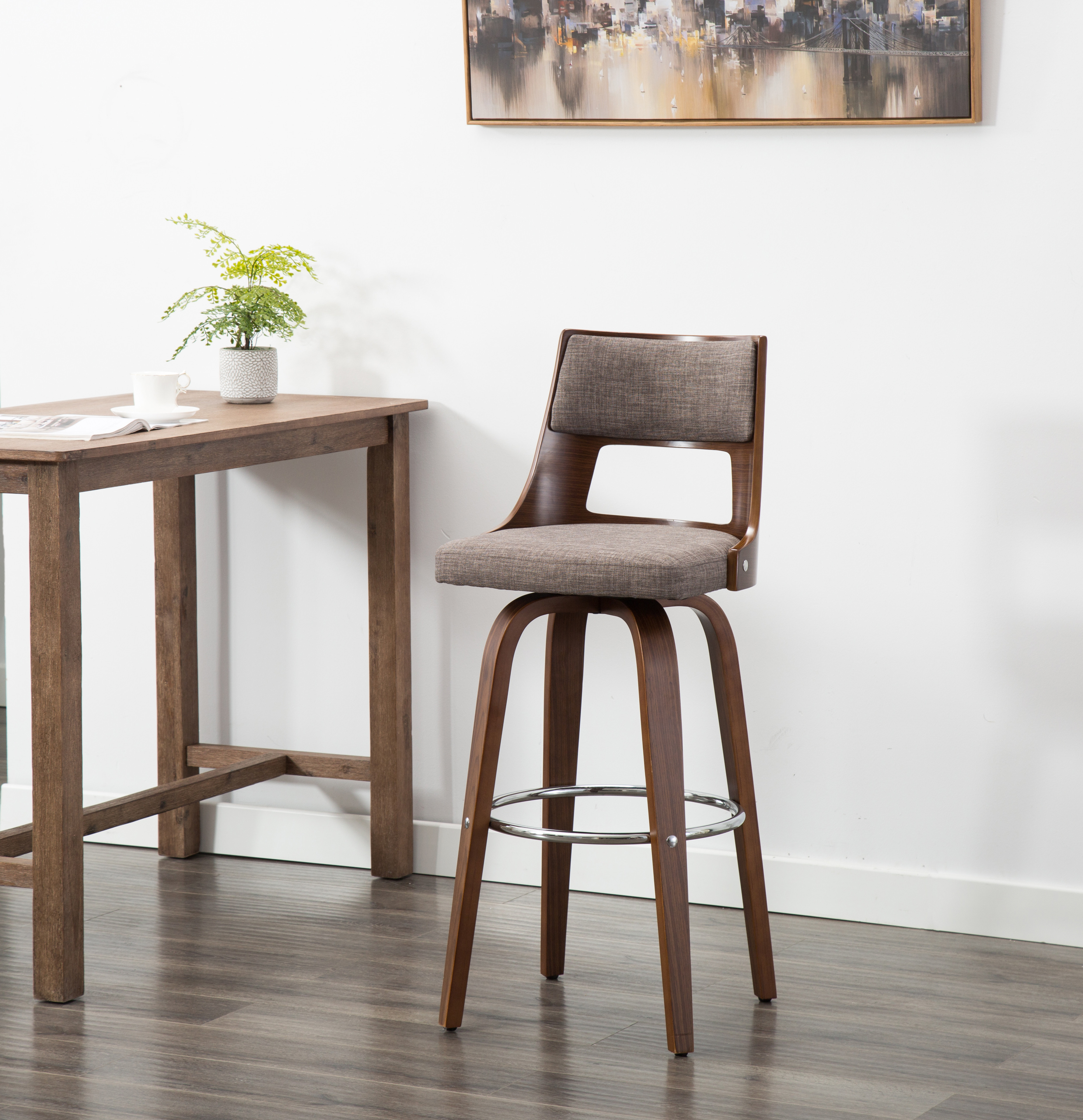Porthos Home Piers Wood Bar Stools With Beech Wood Legs And Back Fabric Upholstery And Metal Footrest Suitable For Home And Office Bars Walmart Com Walmart Com