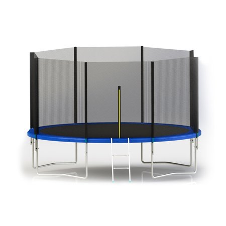ALEKO TRP12 12 Foot Trampoline With Safety Net and Ladder, Black and Blue - 12 Foot