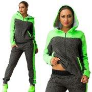 Womens Tracksuit Sets 2Pcs Hooded Hoodie Zipper Sweatshirt Pants Gym Hoody Sportswear