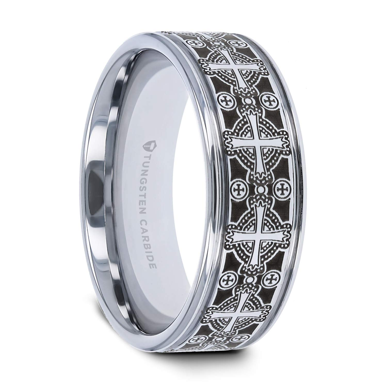 8mm Celtic Ring Tungsten Carbide Etched Design Flat Band Comfort Fit Clearance