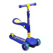 SISIGAD Kids Scooters Mini Aluminum 3 Wheels folding Kick Scooter with LED Light Up Wheel adjustable Handle T-Bar for Children 1 unit Blue