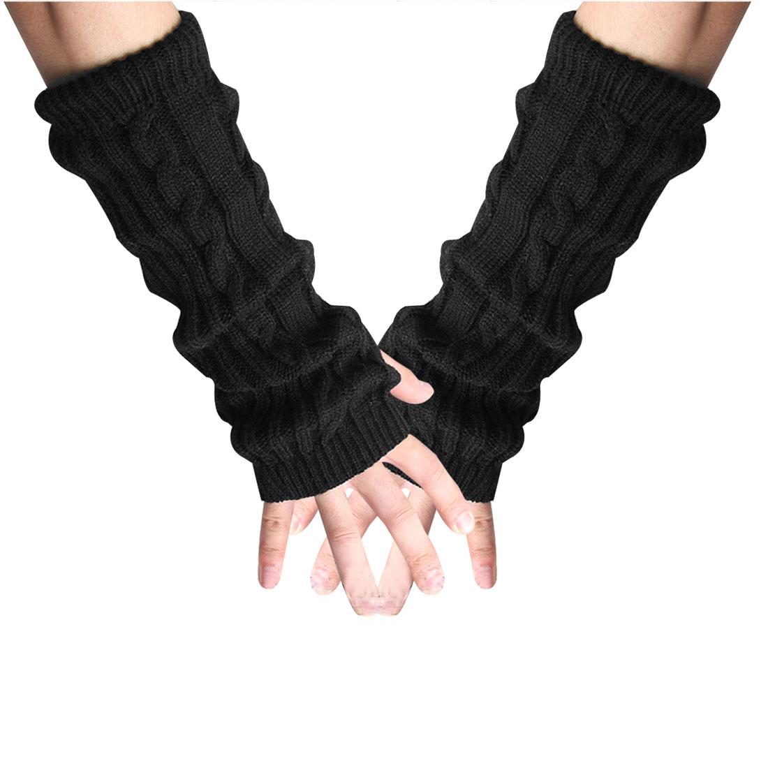 Tasharina Men's Textured Ribbing Hem Design Long Stretch Thick Gloves Black