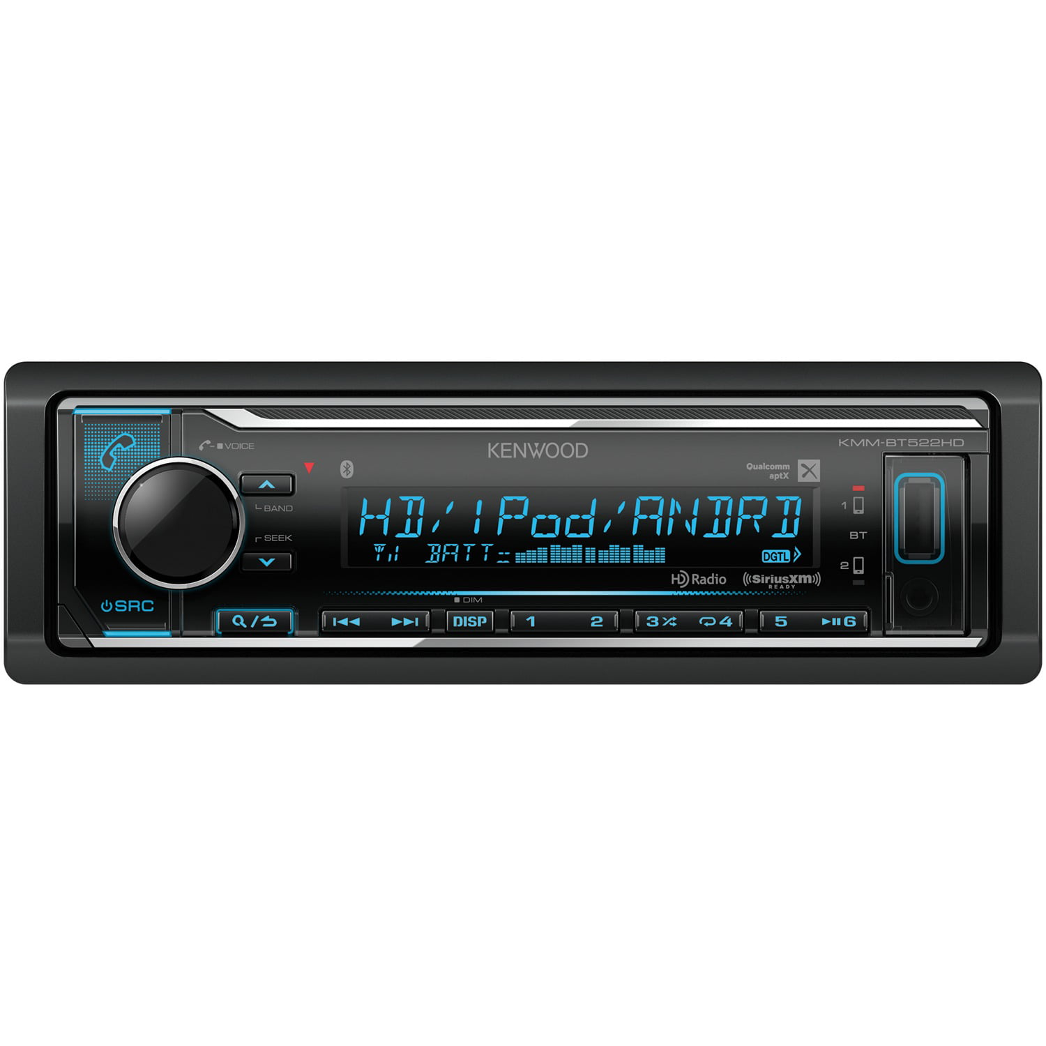 Kenwood KMM-BT522HD Single-Din In-Dash Digital Media Receiver With Bluetooth, HD Radio & SiriusXM Ready by Kenwood