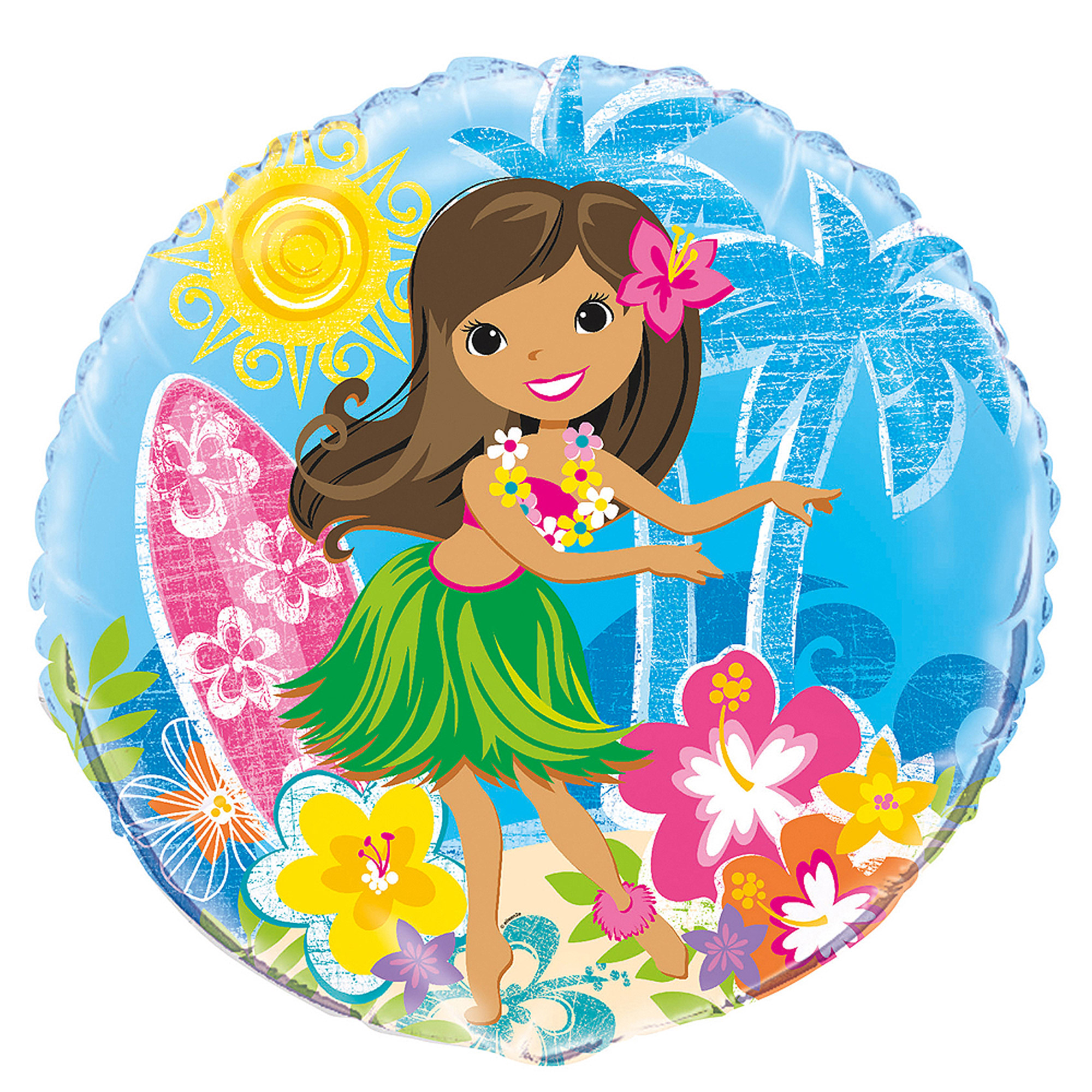 "18"" Foil Hula Girl Luau Party Balloon"