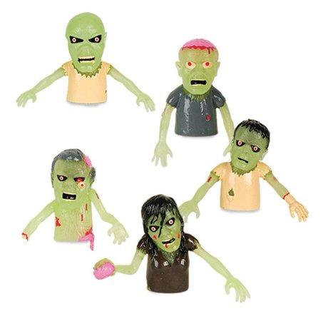 Set of 5 Glow in the Dark Zombie Finger Puppets Halloween Zombies - Puppet Makeup Tutorial Halloween