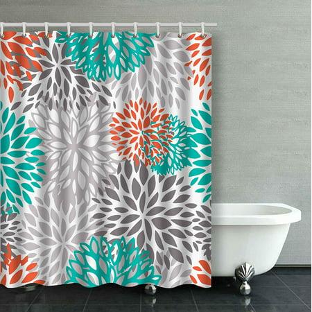 ARTJIA Orange Gray And Turquoise White Dahlia Bathroom Shower Curtain 60x72 inches ()