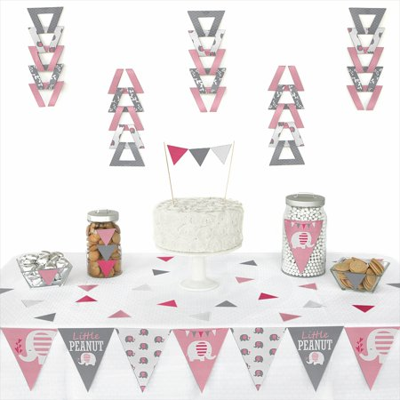 Pink Elephant - Triangle Girl Baby Shower or Birthday Party Decoration Kit - 72 Piece