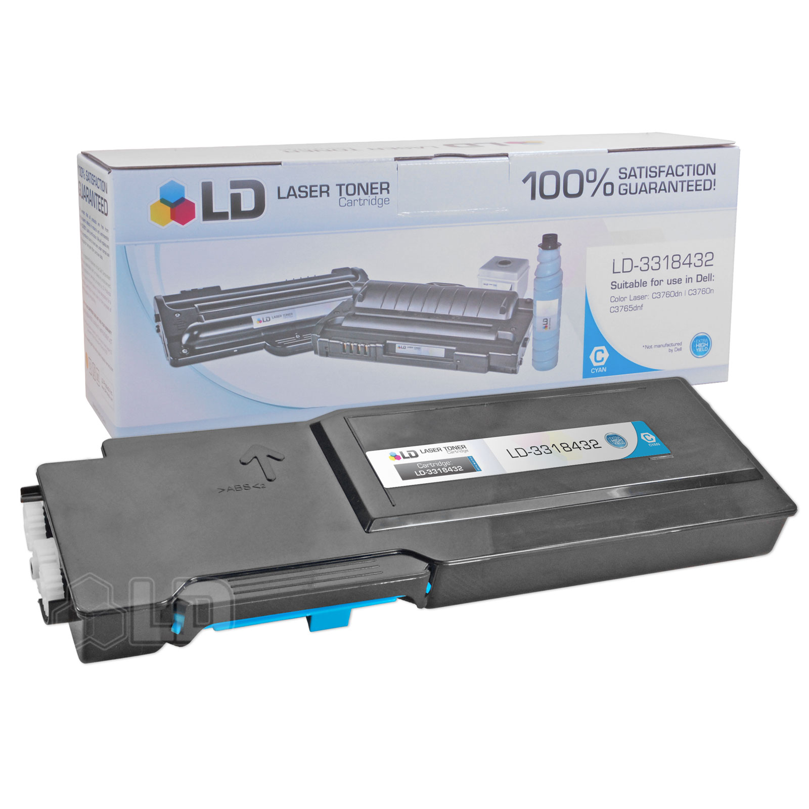 Compatible Toner to Replace Dell 331-8432 (1M4KP) Extra High Yield Cyan Toner Cartridge for Dell C3760 and C3765 Laser