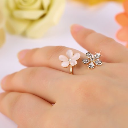 Murano Millefiori Flower Ring - 1 pc Crystal Double Daisy Flower Petals Ring Adjustable Rhinestone Ring