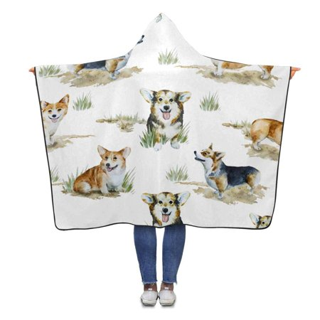ASHLEIGH Watercolor Corgi Pembroke Hooded Blanket 56x80 inches Adults Girls Boys Throw Polar Fleece Blankets Wrap