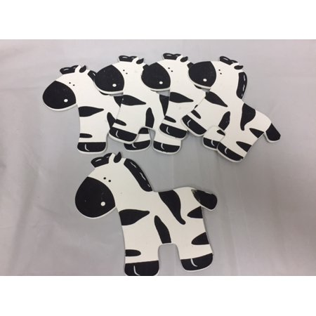 Charmed Wooden Animal Ornaments Zebra for Safari / Jungle Themed, Baby Room Decor, 5 Pieces - Safari Theme Decor