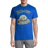 Rick and Morty Lime Spaceship Men's and Big Men's Graphic T-shirt