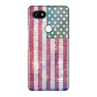 Google Pixel 2 XL Case, Premium Handcrafted Printed Designer Hard Snap on Shell Case Back Cover with Screen Cleaning Kit for Google Pixel 2 XL - USA flag- Wood texture